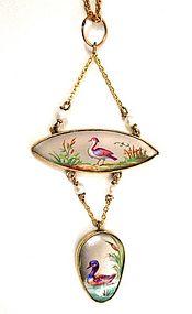 Antique Enamel Necklace, Water Birds