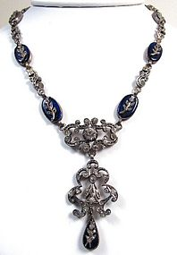 Antique Silver, Paste and Blue Glass Pendant Necklace