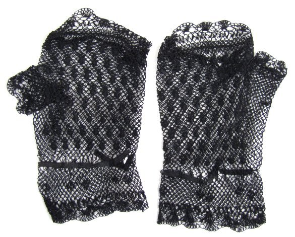Short Pair of Black Victorian Netted Fingerless Mitts