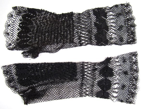 Long Pair of Black Victorian Netted Fingerless Mitts