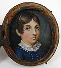 Charming Portrait Miniature of Young Boy, ca 1830's
