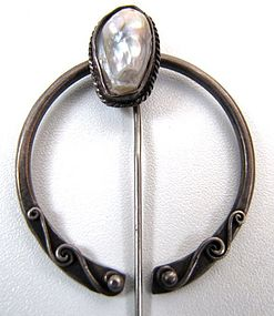 19th C Silver Penannular Brooch with Baroque Pearl