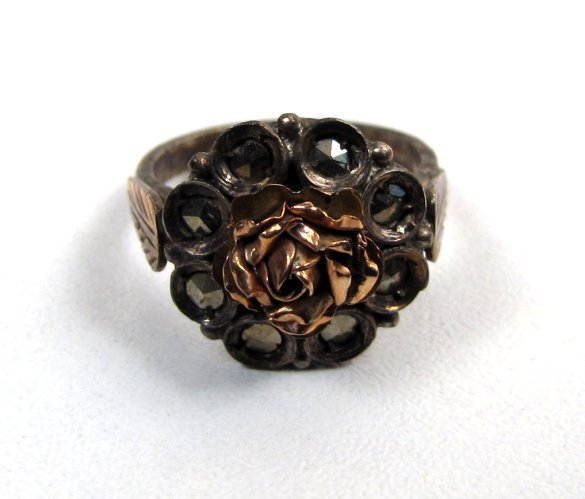 Antique Silver Ring, 9k Rose Gold and Marcasite