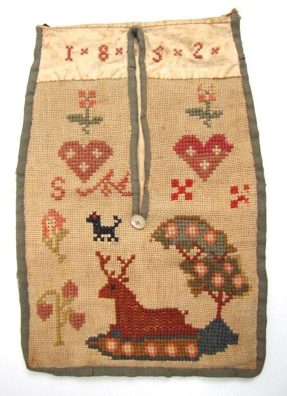 Rare Needlework Pocket on Canvas, 1852, PA Dutch