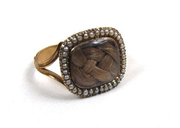 Lovely 9K Georgian Mourning Ring, Blond Hair, Pearls
