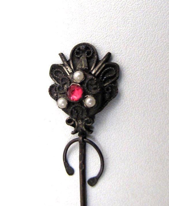 Antique Penannular Stick Pin, Pink Paste