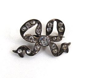Pretty Antique Paste Brooch, Bow