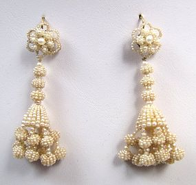 Fabulous 19th C Chandelier Seed Pearl Earrings