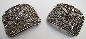19th C Cut Steel Shoe Buckles Marked �L W Paris�