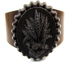 19th C Vulcanite Mourning Cuff Bracelet