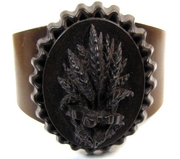 19th C Vulcanite Mourning Cuff Bracelet