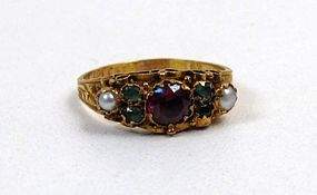 Stunning Georgian Style Ring, Garnet, Emerald, Pearls
