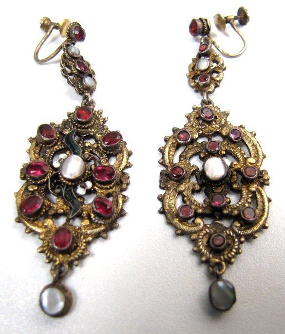 Antique Austro Hungarian Pendant Silver Gilt Earrings