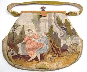 Double-Sided Silk Embroidered Purse, Lovers