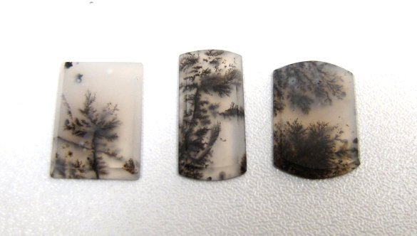Three Perfect Unset Moss Agate Stones