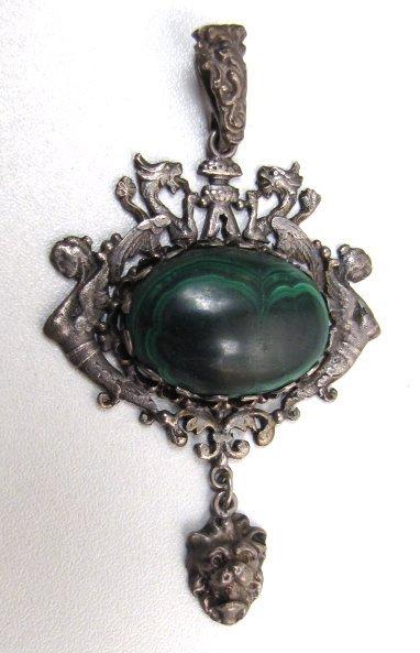 19th C Silver and Malachite Pendant, Austro-Hungarian