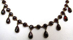 Fantastic Gilt Metal and Garnet Necklace, Victorian