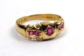 Lovely 18K Victorian Gypsy Rring with Five Rubies