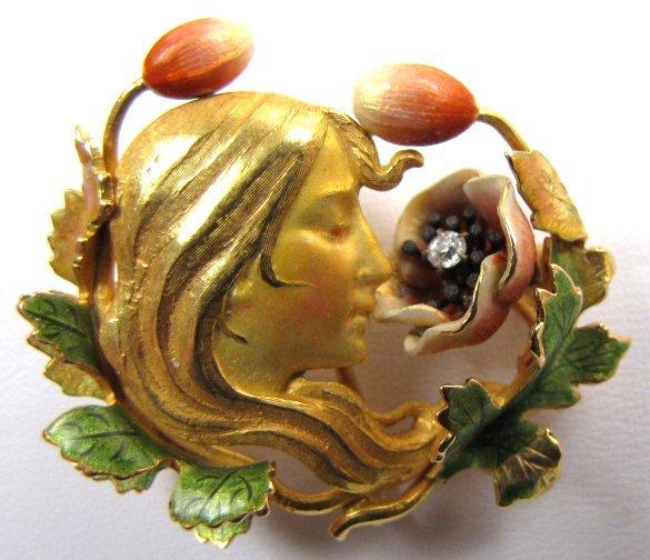 Superb Krementz Art Nouveau Enamel Brooch, Woman