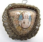 Interesting Double Sided 19th C Reliquary Pendant