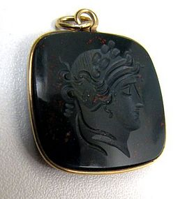 Antique Bloodstone Intaglio Pendant, Head of Apollo