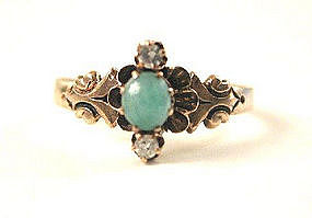 Enchanting Victorian Jade & Diamond Ring 1890