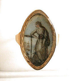 Georgian Mourning Ring, Sepia Miniature, 1790