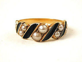 Inscribed Enamel & Pearl Mourning Ring 1875