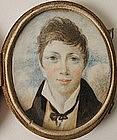 English School Portrait Miniature of Boy 1820