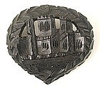 Carved Victorian Bog Oak Mourning Brooch