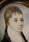 Early 19th C Portrait Miniature, Young Gent