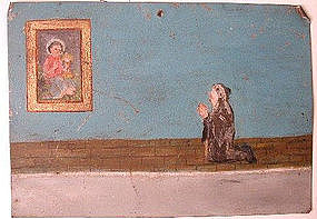 Antique Retablo Ex Voto, Nun Praying