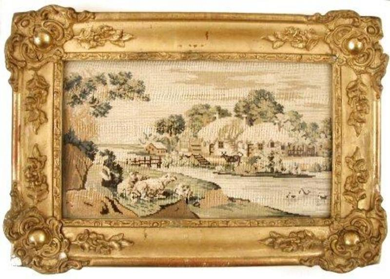 Early 19th C Needlework Landscape Picture