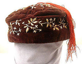 19th C Embroidered Velvet Smoking Cap