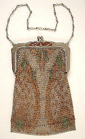 Whiting & Davis Fine Mesh Purse, Enamel Frame