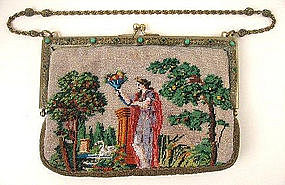 Antique Beaded Figural Purse, Jeweled Frame