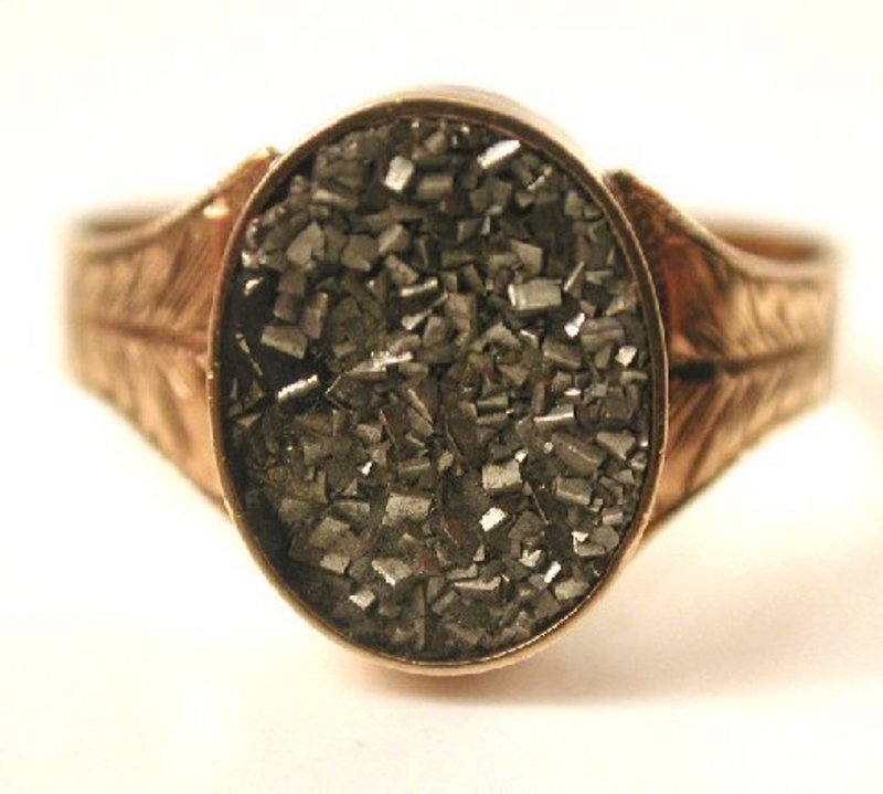 Victorian Pyrite & 10k Rose Gold Ring