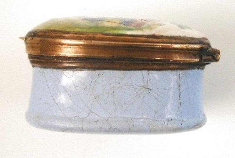 Charming 18th C Enamel Snuff or Patch Box