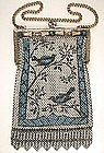 Fine Enamel Mesh Purse, Birds, Jewel Frame