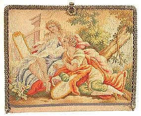 EX Fine Silk Tapestry Purse, Lovers & Lamb