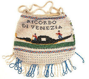 Rare 19th C Beaded Purse, Venice, Gondola!