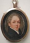 English Portrait Miniature Gentleman, ca 1820