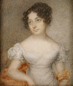 Portrait Miniature of Lovely Woman, c 1835