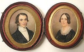 Portrait Miniature Pair, Husband & Wife