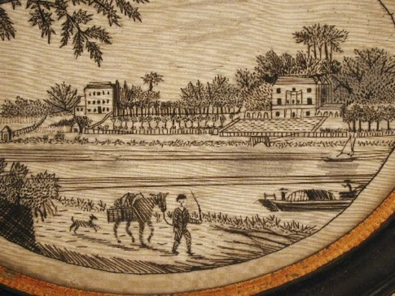 Lovely 18th C �Hairwork� Embroidered Picture