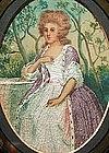 Watercolor & Needlework Portrait of Lady 1800