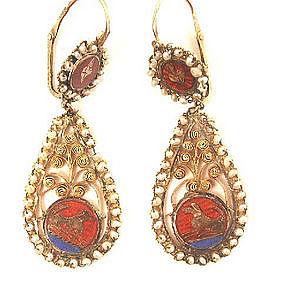 Superb Enamel, Pearl & Gold Earrings, 1830