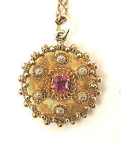 Dainty Victorian Etruscan Gold Pendant w/Hair