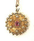 Dainty Victorian Etruscan Gold Pendant w/Hair