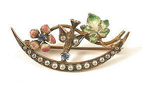 Delicate Enamel Brooch, Bird & Flowers